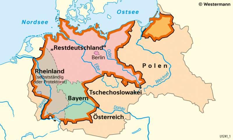 Mitteleuropa   Teilungspläne der Alliierten   Geschichte - Der Zweite Weltkrieg und seine Ergebnisse   Karte 217/3