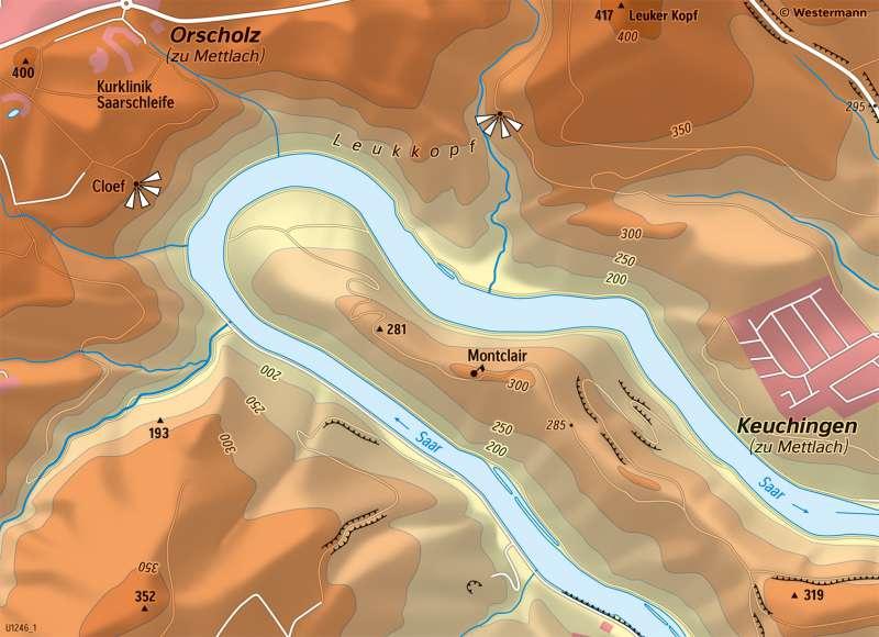 Saarschleife | PhysischeKarte | Saarland - Vom Bild zur physischen Karte | Karte 6/3