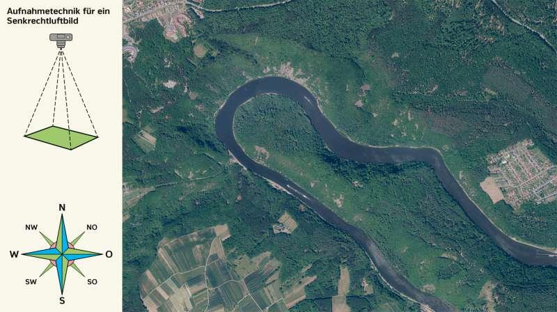 Saarschleife | Senkrechtluftbild | Saarland - Vom Bild zur physischen Karte | Karte 6/2