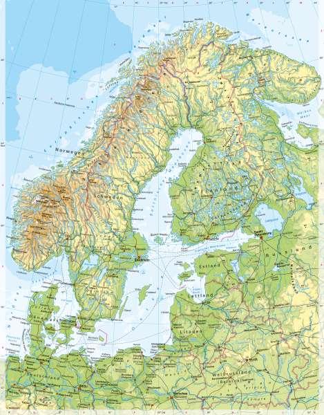 Skandinavien und Baltikum | PhysischeKarte | Nordeuropa - Physische Karte | Karte 62/2