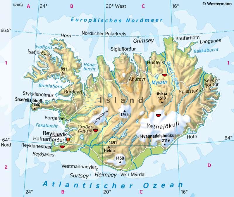 Island | PhysischeKarte | Nordeuropa - Physische Karte | Karte 62/1