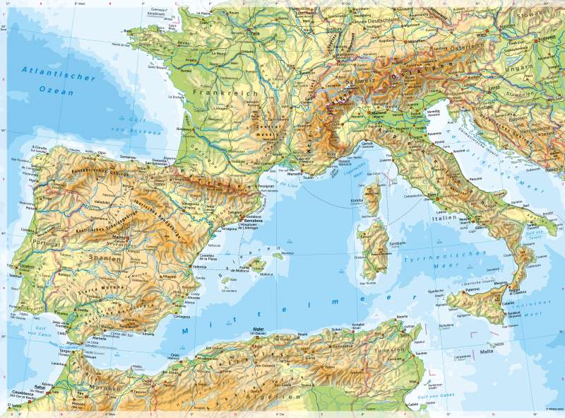 Südwesteuropa | PhysischeKarte | Südwesteuropa - PhysischeKarte | Karte 68/1