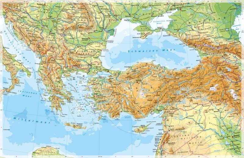 Südosteuropa, Türkei | PhysischeKarte | Südosteuropa, Türkei - PhysischeKarte | Karte 70/1