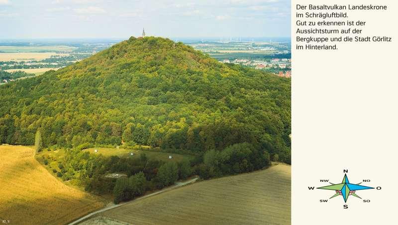 Landeskrone (Oberlausitz)   Schrägluftbild   Sachsen - Kartentypen/Berge auf der Karte   Karte 7/5