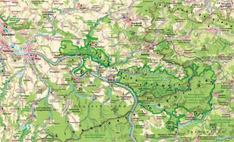 Diercke Weltatlas Kartenansicht Elbsandsteingebirge