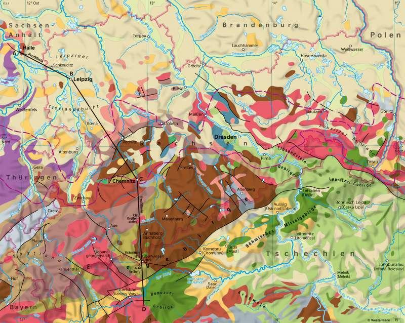 Sachsen | Geologie | Sachsen - Topographie und Geologie | Karte 13/3