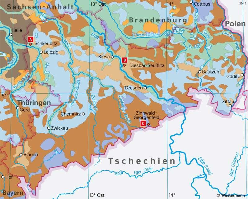 Sachsen | Böden | Sachsen - Naturfaktoren und Landwirtschaft | Karte 16/4