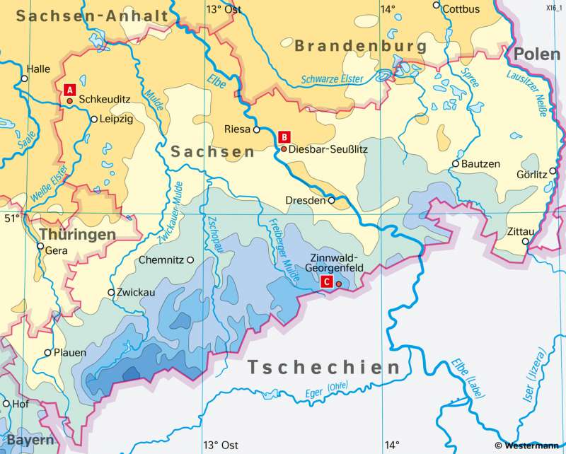 Sachsen   NiederschlägeimJahr   Sachsen - Naturfaktoren und Landwirtschaft   Karte 16/2