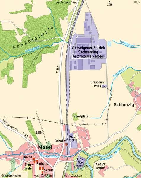 Zwickau-Mosel   Entwicklung des Kraftfahrzeugbaus   Sachsen - Wirtschaft   Karte 18/2