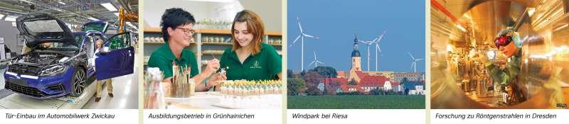 | Tür-Einbau im Automobilwerk Zwickau/Ausbildungsbetrieb in Grünhainichen/Windpark bei Riesa/Forschung zu Röntgenstrahlen in Dresden | Sachsen - Wirtschaft | Karte 19/3