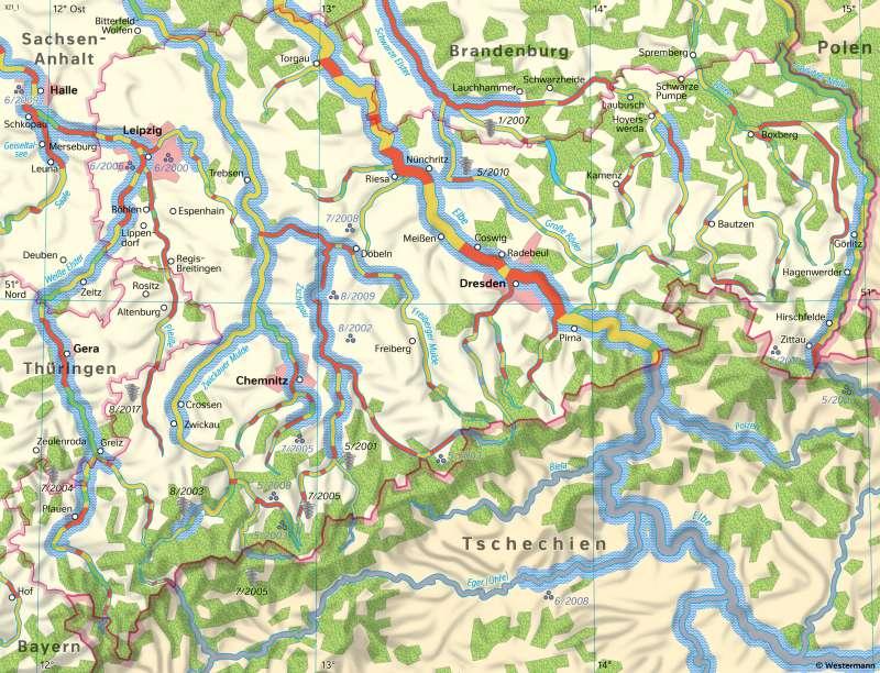 Sachsen   Wetterextreme und Gewässerveränderungen   Sachsen - Umwelt   Karte 20/1