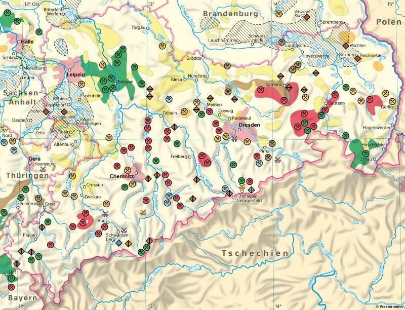 Sachsen | Bergbau (Gewinnungs- und Sanierungsbetriebe) | Sachsen - Umwelt | Karte 21/3