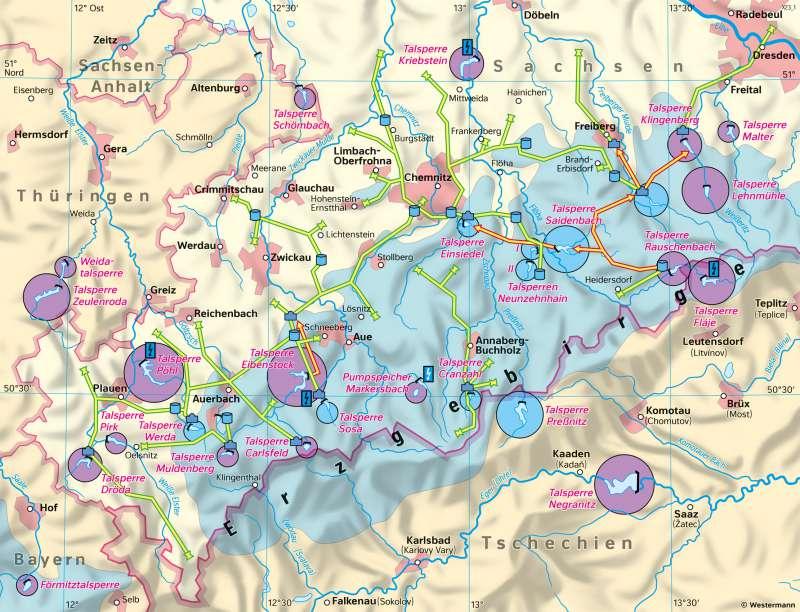 Südwestsachsen | Talsperren und Fernwasserversorgung | Sachsen - Umwelt | Karte 20/2