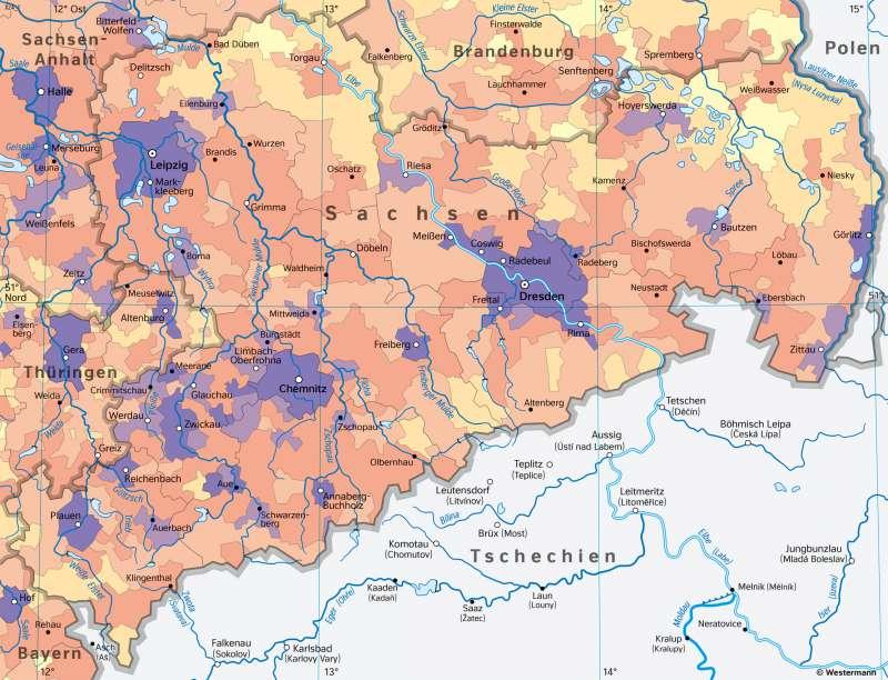 Sachsen | Bevölkerungsdichte und Städte | Sachsen - Bevölkerung | Karte 24/1