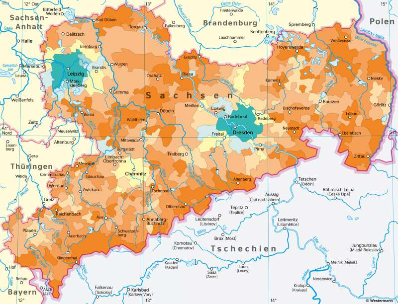 Sachsen | Bevölkerungsentwicklungzwischen 2001 und 2017 | Sachsen - Bevölkerung | Karte 25/3