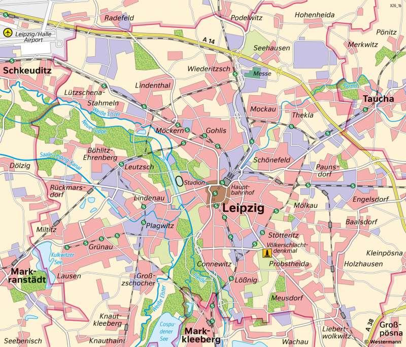 Diercke Weltatlas Kartenansicht Leipzig Siedlungsentwicklung