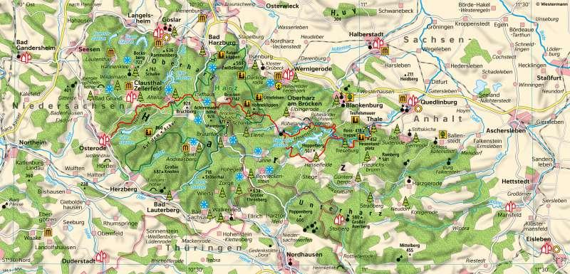 Harz | Tourismusim Mittelgebirge | Sachsen-Anhalt - Natur und Umwelt | Karte 16/1