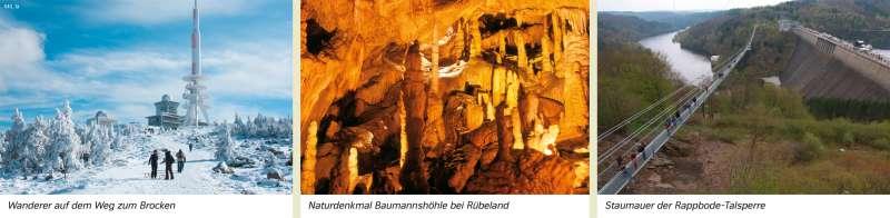   Wanderer auf dem Weg zum Brocken/Naturdenkmal Baumannshöhle bei Rübeland/Staumauer der Rappbode-Talsperre   Sachsen-Anhalt - Natur und Umwelt   Karte 16/1