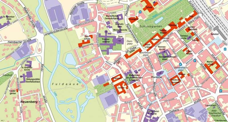 Fulda | Innenstadt heute | Fulda - Räume im Wandel | Karte 25/2