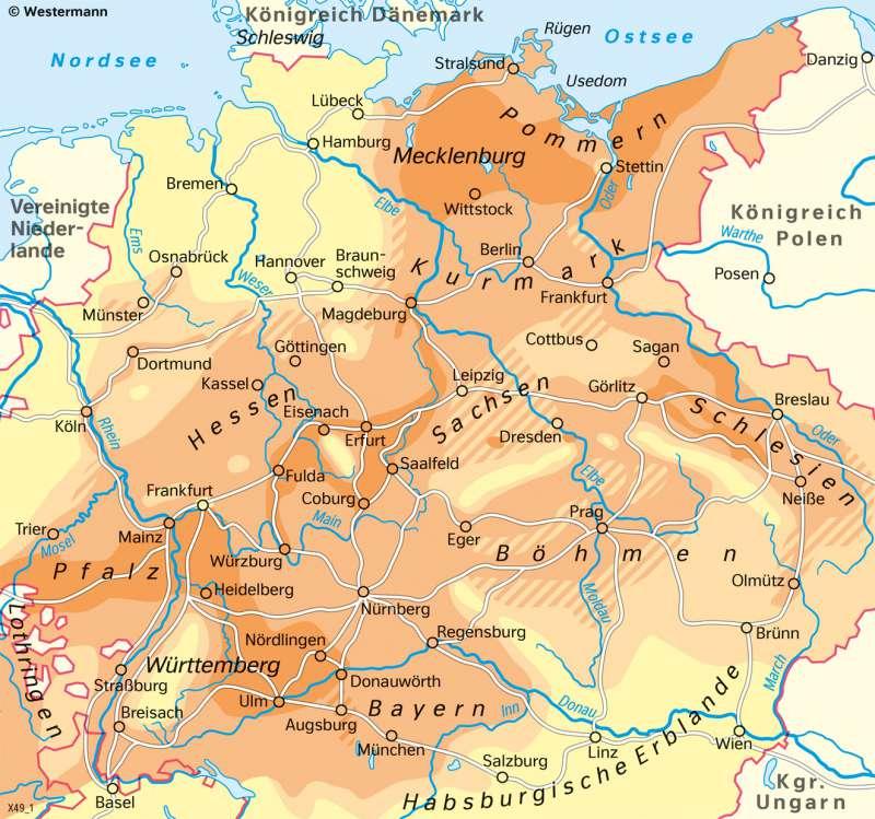 Mitteleuropa | Bevölkerungsverluste im Dreißigjährigen Krieg | Geschichte - Reformation und Dreißigjähriger Krieg | Karte 204/3
