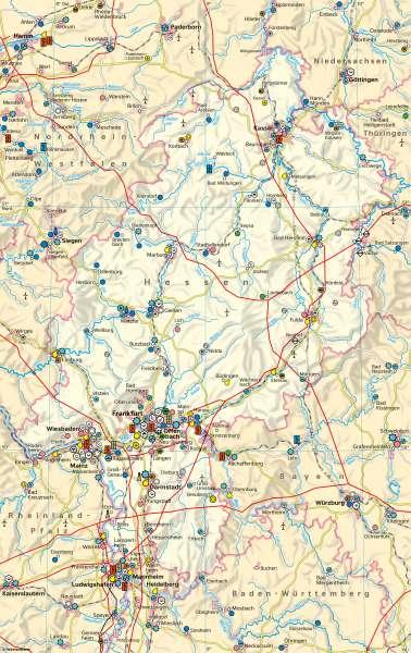 Hessen   Wirtschaft und Verkehr   Hessen - Wirtschaft und Strukturwandel   Karte 20/1