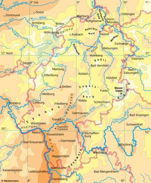 Hessen | Temperaturen im Jahr | Hessen - Landwirtschaft und Klima | Karte 19/2