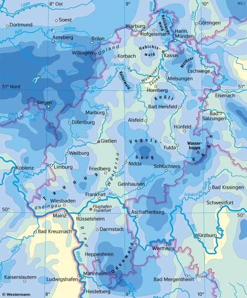 Hessen | Niederschläge im Jahr | Hessen - Landwirtschaft und Klima | Karte 19/3