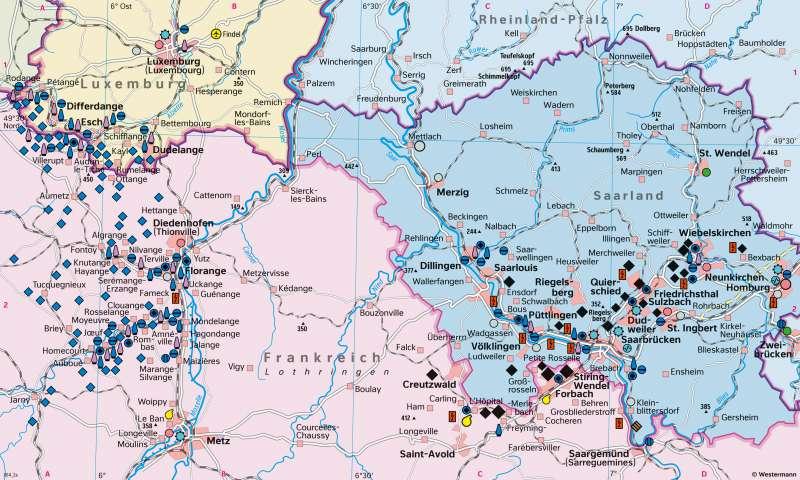 Saarland/Lothringen/Luxemburg (Saar-Lor-Lux) | Montanregion 1957 | Saar-Lor-Lux - Strukturwandel | Karte 22/1