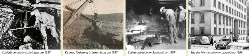 | Kohleförderung in Lothringen um 1957/Eisenerzförderung in Luxemburg um 1957/Stahlproduktion im Saarland um 1957/Sitz der Montanunion in Luxemburg 1956 | Saar-Lor-Lux - Strukturwandel | Karte 22/1