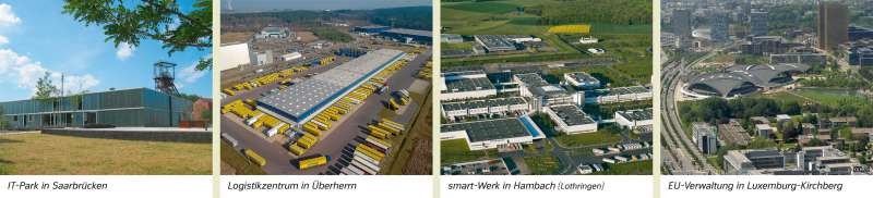 | IT-Park in Saarbrücken/Logistikzentrum in Überherrn/smart-Werk in Hambach (Lothringen)/EU-Verwaltung in Luxemburg-Kirchberg | Saar-Lor-Lux - Strukturwandel | Karte 23/2