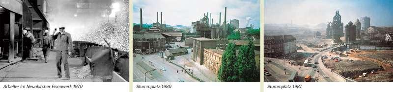 Neunkirchen (Saar) | Arbeiter im Neunkircher Eisenwerk 1970/Stummplatz 1980/Stummplatz 1987 | Neunkirchen (Saar) - Räume im Wandel | Karte 24/1