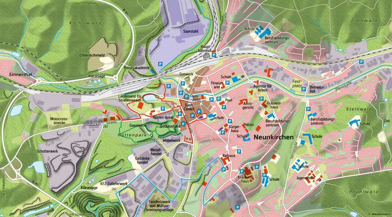 Neunkirchen(Saar) | Dienstleistungszentrum2018 | Neunkirchen (Saar) - Räume im Wandel | Karte 25/2