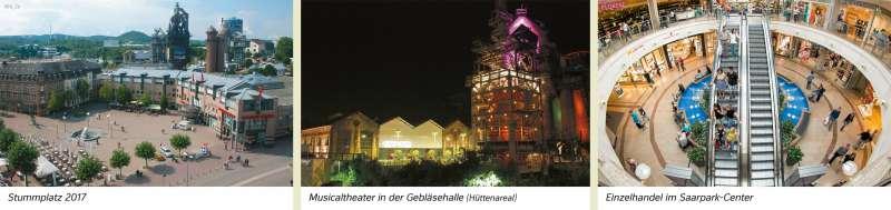 Neunkirchen (Saar) | Stummplatz 2017/Musicaltheater in der Gebläsehalle (Hüttenareal)/Einzelhandel im Saarpark-Center | Neunkirchen (Saar) - Räume im Wandel | Karte 25/2