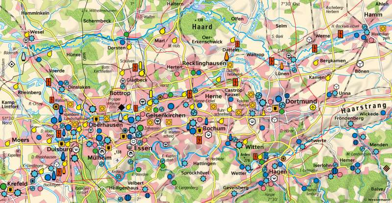 Ruhrgebiet | Strukturwandel | Deutschland - Wirtschaft | Karte 43/3