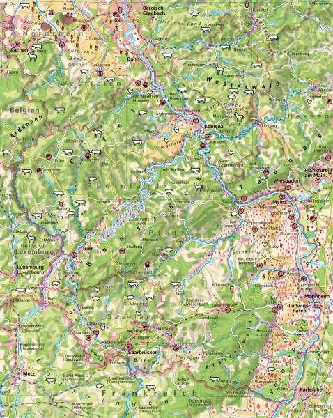 Rheinland-Pfalz | Landwirtschaft undBodenbedeckung | Rheinland-Pfalz - Klima und Landwirtschaft | Karte 18/2