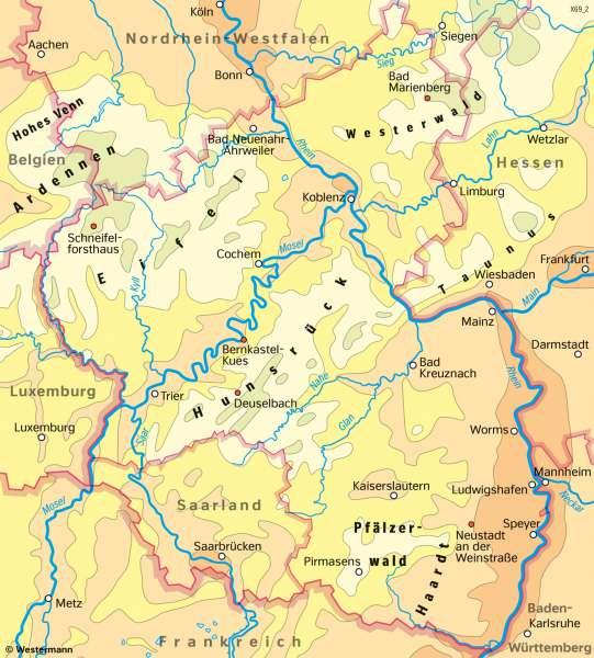 Rheinland-Pfalz | Temperaturen im Jahr | Rheinland-Pfalz - Klima und Landwirtschaft | Karte 19/4