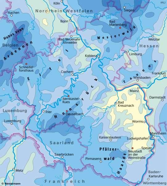 Rheinland-Pfalz   Niederschläge im Jahr   Rheinland-Pfalz - Klima und Landwirtschaft   Karte 19/3