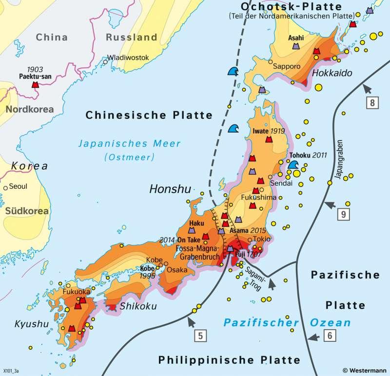 Japan | Naturrisiken | Japan - Naturrisiken und Wirtschaft | Karte 112/1