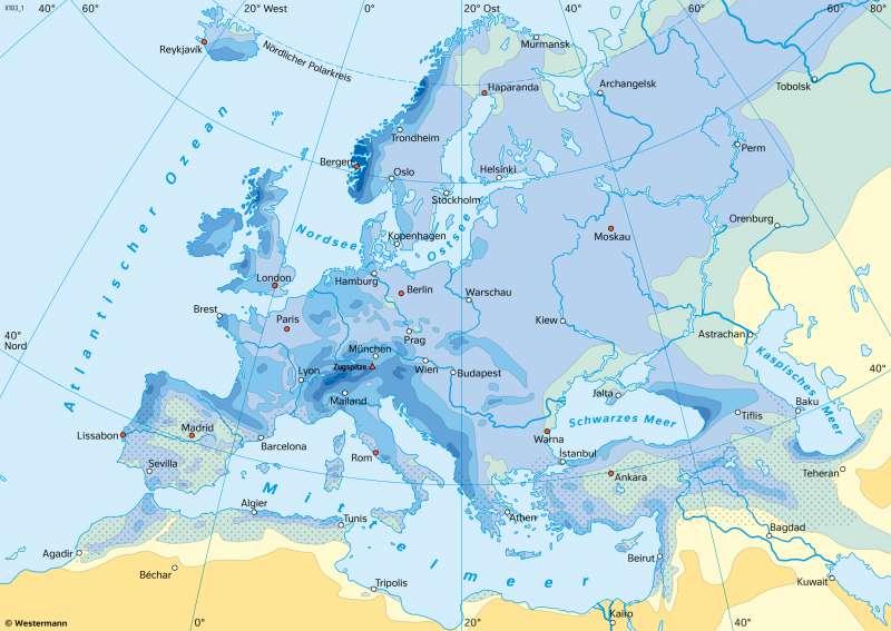 Europa | NiederschlägeimJahr | Europa - Klima | Karte 75/4