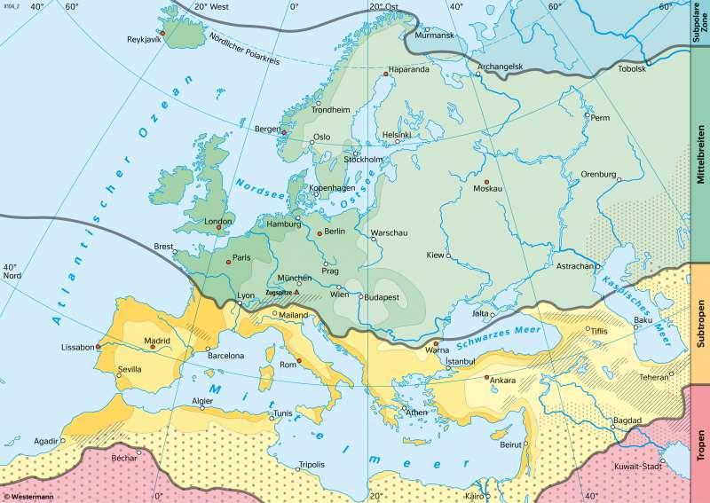 Europa | Klimazonen nach ihren Merkmalen | Europa - Klima | Karte 75/5