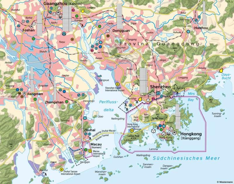 Perlflussdelta (Südost-China) | Verstädterung und Wirtschaftswachstum | Asien - Verstädterung | Karte 106/1