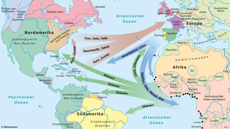 WestlicheHemisphäre | Atlantischer Dreieckshandel (16.bis19.Jahrhundert) | Geschichte - Die Entwicklung der USA zum Einwanderungsland | Karte 210/2