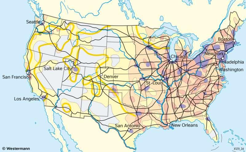 VereinigteStaaten vonAmerika (USA) | Die Erschließung des Westens | Geschichte - Die Entwicklung der USA zum Einwanderungsland | Karte 211/1