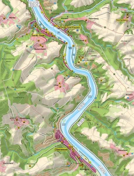 Mittelrheintal bei Sankt Goar und Oberwesel | Tourismus und Verkehr im UNESCO-Welterbe | Mittelrheintal bei Sankt Goar und Oberwesel - Eine Karte lesen und auswerten | Karte 14/1
