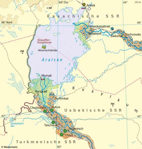 Aralsee (Zentralasien) | Landschaftswandel | Asien - Landwirtschaft und Landschaftswandel | Karte 103/3