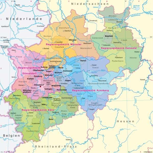 Nordrhein-Westfalen | Verwaltungsgliederung | Nordrhein-Westfalen - Politische und physische Übersicht | Karte 12/1