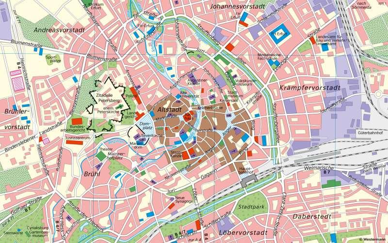 Erfurt | HistorischeStadtentwicklung | Thüringen - Geschichte und Verwaltung | Karte 27/4
