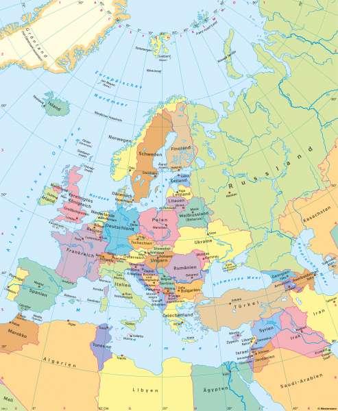 Europa | Politische Übersicht | Europa - Staaten und Sprachen | Karte 60/1