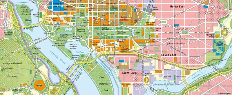 WashingtonD.C. | Politisches Machtzentrum der USA | Vereinigte Staaten von Amerika (USA) - Städte | Karte 149/5