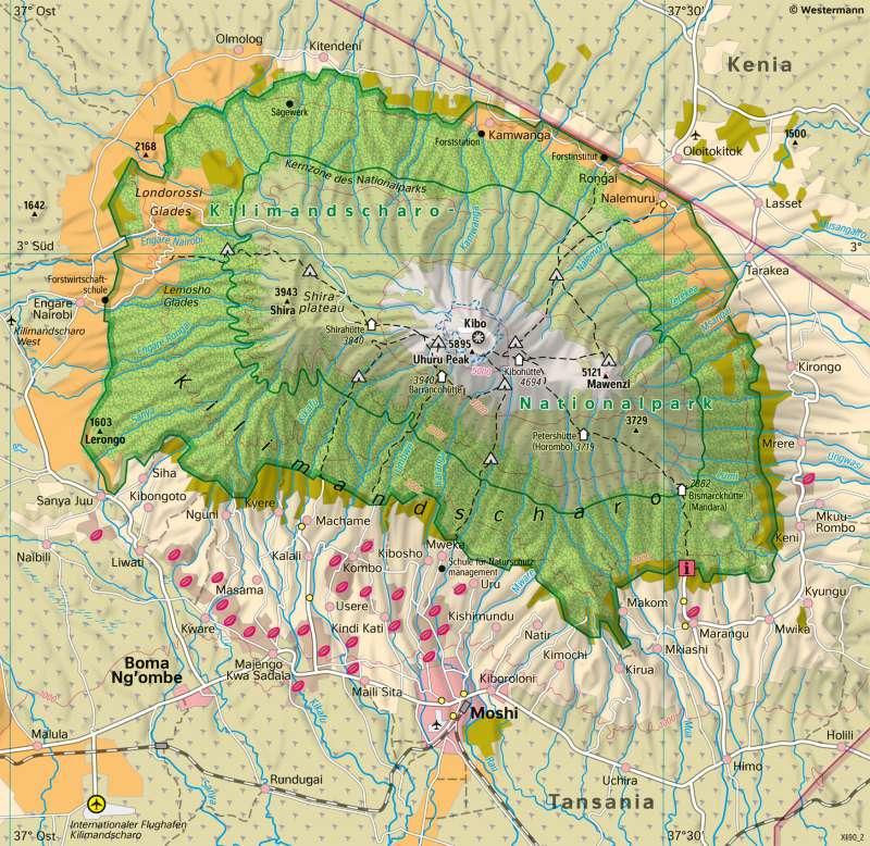 Kilimandscharo (Tansania) | HöhenstufenderVegetation | Afrika - Orientierung | Karte 120/2
